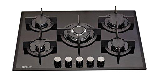 Millar GH7051PB Plaque de cuisson en Verre trempé avec 5 brûleurs à gaz Noir 70 cm/Table de Cuisson