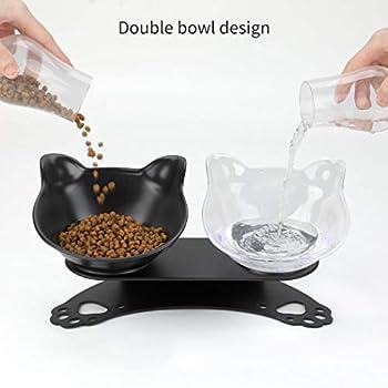 Bangcool Gamelle pour Chat , Double Bols pour Chats avec Support Surélevé , Gamelle Chat Plateforme inclinée à 15° , Gamelle Double pour Petit Chien et Chat