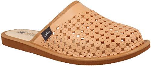 Zapatillas De Casa Hombre De Cuero Natural Perforado Transpirable. (45 EU, Beige 810B)