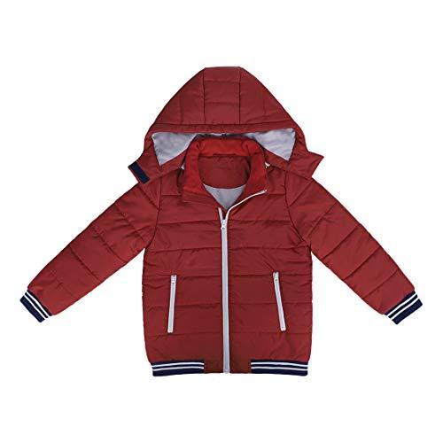 DISHANG Piumino Imbottito Trapuntato da Cappotto Invernale per Bambini con Cappuccio Rimovibile Giacca da Snowboard da Sci Antivento Natalizia (Rosso, 12#)