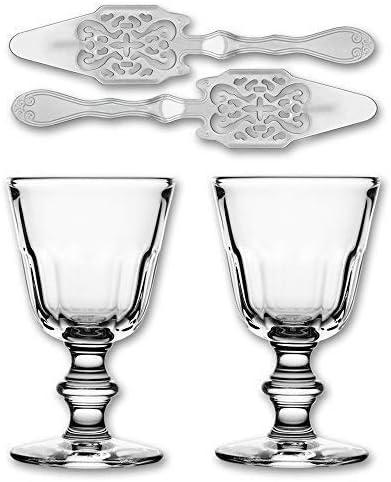 2x La Rochere Ajenjo Cristal Perigord 190 ml + 2x Ajenjo Cuchara antiguo