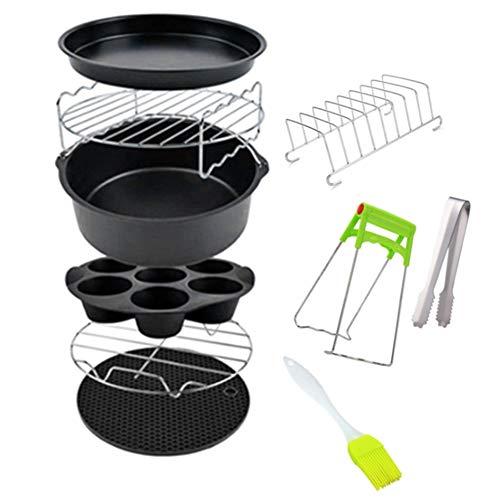 Cobeky 10 accesorios para freidora de aire de 7 pulgadas para freidora de 3.2 a 5.8 QT, cesta para hornear, bandeja de pizza, herramientas de cocina