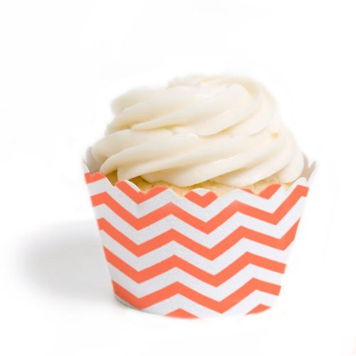 Dress My Cupcake Standard Cupcake Wrappers, Chevron, Coral, Set of 50