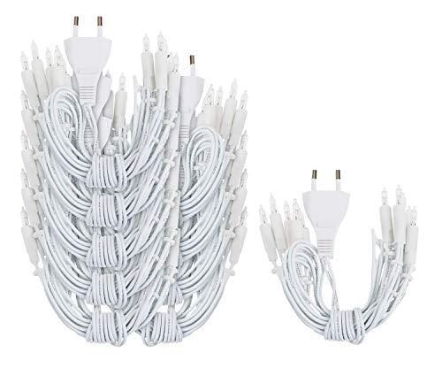 VBS Großhandelspackung 10er-Pack Lichterketten 10er weißes Kabel ohne Schalter warmweiß