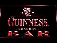 Guinness Draught Beer Bar LED看板 ネオンサイン ライト 電飾 広告用標識 W30cm x H20cm レッド