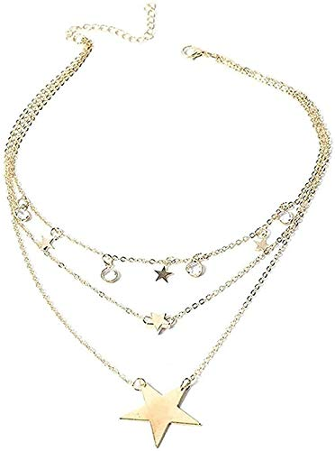 ZGYFJCH Co.,ltd Necklace Fashion Vintage Necklace Multilayer Crystal Pendant Women Necklace Gold Color Pearl Moon Star Horn Choker Necklaces Jewelry Gift Pendant Necklace Mä