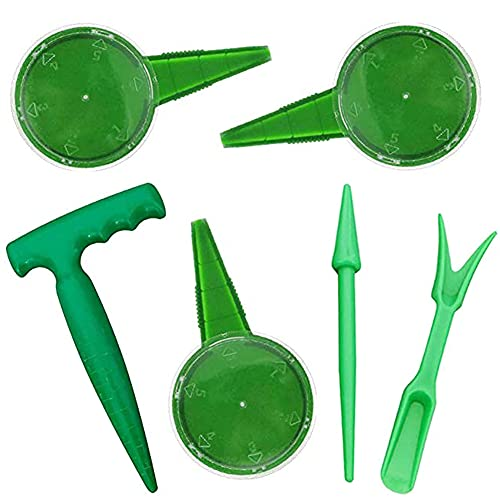 OYSJ 6 Pezzi Mini Giardino Piantare Strumento Mano Seminatrice,Attrezzo da Giardinaggio in Miniatura Strumenti per trapianti,la punzonatura del Terreno e Transplanter per vasi e nell' orto