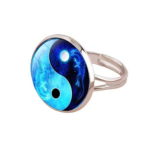 Taiji Yin Yang anillo ajustable para mujeres hombres gato árbol vida mariposa arte patrón cristal cabujón encanto anillos joyería