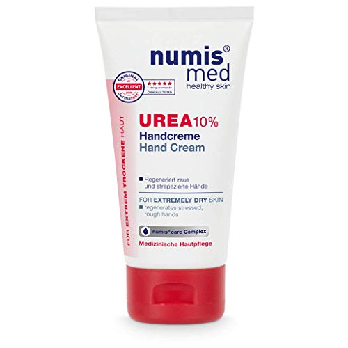 numis med Handcreme mit 10% Urea - Hautberuhigende Hand Creme für sehr trockene & strapazierte Hände - vegane Hautpflege ohne Silikone, Parabene & Mineralöl (1x 75 ml)