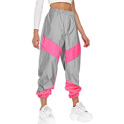 A/N Pantalones De Mujer De OtoñO E Invierno Deportivos con Costura A Media Cintura Pantalones Casuales Reflectantes Holgados