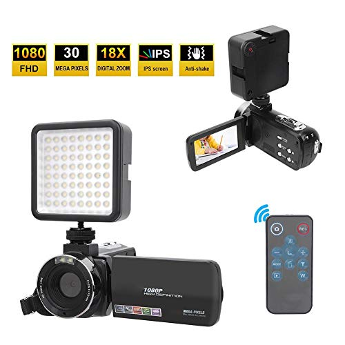 Camcorder HD 1080P 30MP videocamera met 18x ​​digitale zoom, 3,0 inch IPS-scherm, beeldstabilisator, LED-invullicht, digitale camera met afstandsbediening