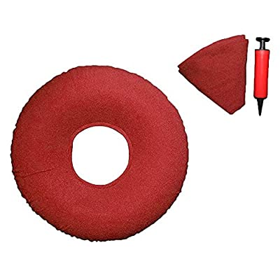 XIAQIU Hemorrhoid Donut Seat, Haemorrhoid Pain Inflatable Ring Cushion, Hemorrhoid Pillow, Pain Relief for Hemorrhoids, Prostate, Post Natal, Surgery, Pressure Sores- Air Pump Included (Red)