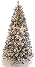 AMERIQUE 691322305692 8 FEET Premium Artificial Full Body Shape Christmas Tree with Metal Stand, Heavily Flocked Snow, Unlit, Snowy