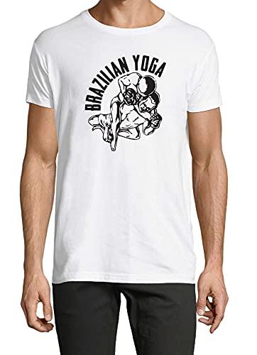 Jiu Jitsu - Camiseta unisex para yoga, diseño de artes marciales y artes marciales, color blanco, blanco, 54