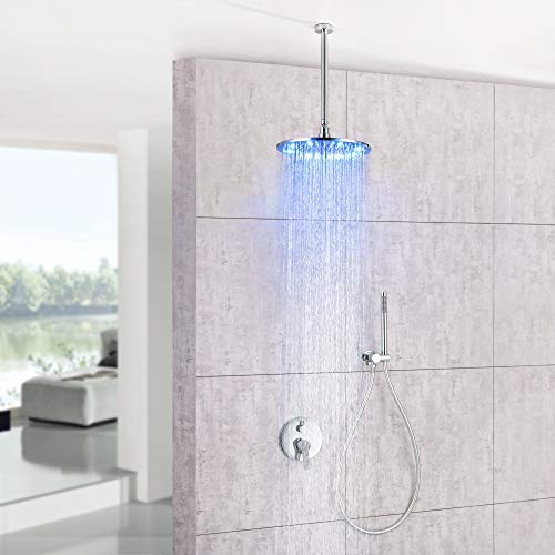 Dr Faucet LED Shower Faucet Set Complete Bathtub Combo withy Spray Bathroom 8 Inch Ceiling Round Rain Shower Fixture with Handheld Kit