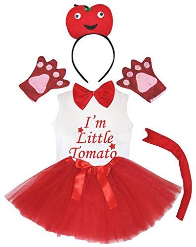 Petitebelle Disfraz para nia de 6 piezas, con texto en ingls 'I'm Little Frut', de 1 a 8 aos (tomate, 4 a 5 aos)