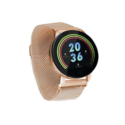 Sami - Flex - Smartwatch, Smartband, Pulsera de Actividad. Color Rosa Oro. Compatible Android y Apple. Notificaciones y Llamadas. GPS, Presión sanguínea, Fuerza G. Correa magnética.