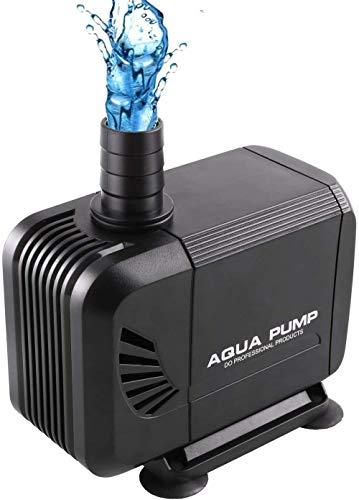 Mdcgok Mini Bomba de Agua Ultra Silencioso Fuente de Agua anfibia Bomba Sumergible Acuario Estanque Bomba para Estanque Fuente Acuario con Cabezal 2.8m y 3 boquillas de Repuesto