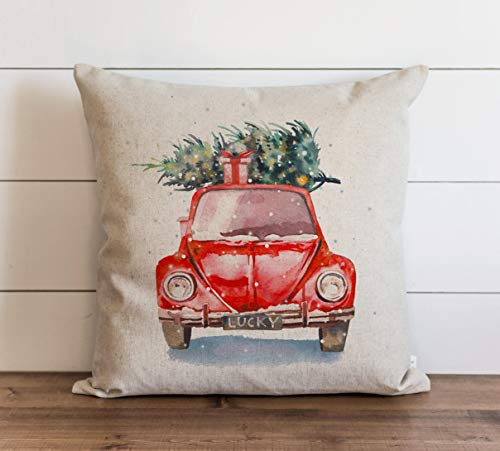 Promini Watercolor Christmas Car Pillow Cover Christmas Pillow Cover Xmas Throw Pillow Throw Pillow Christmas Accent Pillow Case Cushion Pillowcase for Sofa Home Decor 24 x 24 Inches