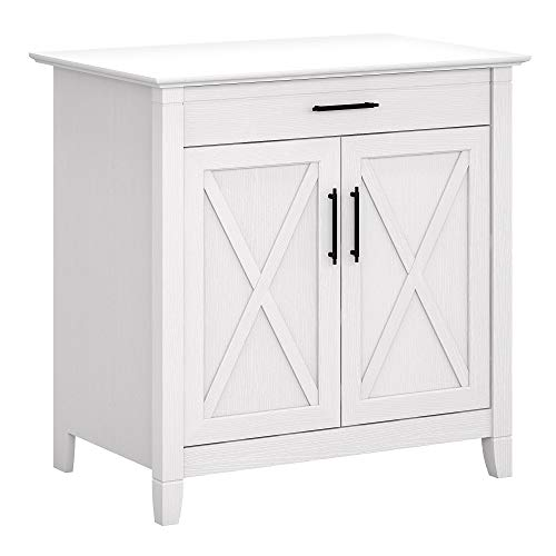 Bush Furniture Key West Secretary Desk with Keyboard Tray and Storage Cabinet, 30W, Pure White Oak