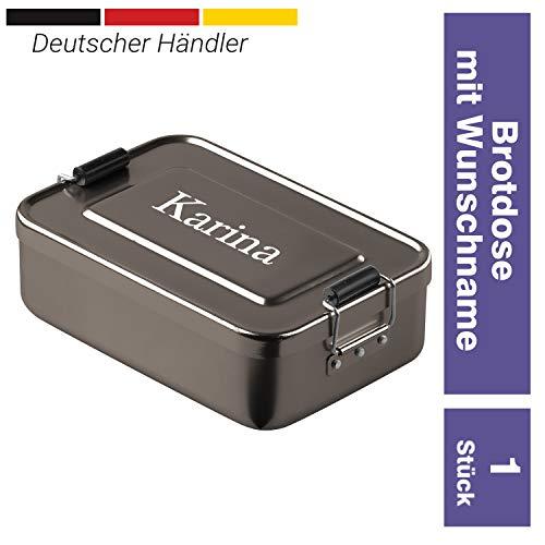 elasto Personalisierte Vesperbox mit Gravur BPA-Freie Brotdose mit Namen 17 x 12 x 5 cm Brotzeitbox Metall für Kinder und Erwachsene Tolles Geschenk für Schule Kindergarten Arbeit (Anthrazit)