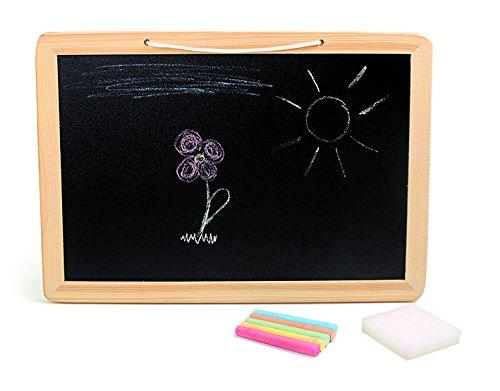 Small Foot 3497 Tafel Bunte Holz inkl. Kreide und Schwamm, für Schulkinder und Kinder ab 4 Jahren Spielzeug