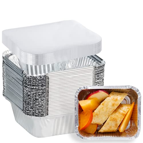 20 Pack Aluminum Pans Disposable Take Out Food Containers with Lids - 1 LB Heavy Duty Tin Foil Pans- 5.5'×4.5'×1.8' - 20 Containers and 20 Lids - for Cooking, Baking, Meal Prep, Takeout