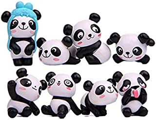 Panda Figures Toys, 8Pcs Naughty Plastic Mini Panda Figurines For Handcraft Fairy Garden Ornaments