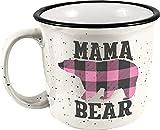 Spoontiques Mama Bear Ceramic Camper Mug, 14 oz, White