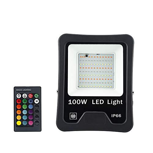 MINGRT 100W Foco LED RGB Exterior, Luz De Inundación Con Control Remota 16 Colores 4 Modos Ip66 Impermeable Foco Proyector Exteriores Para Fiesta Jardín Patio (Color : Black)