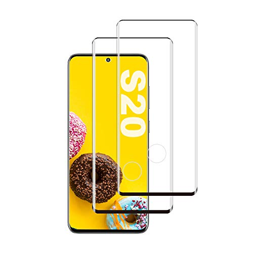 Galaxy S20 Screen Protector, [2-Pack] [Support Fingerprint Sensor] [Ultra Clear] [9H Hardness] [Case Friendly] Premium 3D Tempered Glass for Samsung Galaxy S20