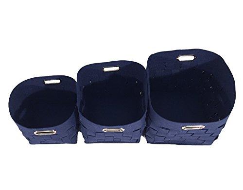 Panier à Linge/Cube de Rangement en Feutre Bleu avec poignées intégrées Accessoire pour Votre Salle de Bain ou Dressing – Grand