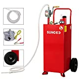SUNCOO 30 Gallon Fuel Tank on Wheels, Portable Gas Caddy, Fuel Storage Tank with Pump, Long Kink Free Hose for ATVs, Cars, Mowers and Generators, Red