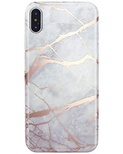 JIAXIUFEN Shiny Rose Gold Gray Marble Design Silicone Gomma TPU Ultra Leggera Chiaro Flessibile Sottile Molle Cover Compatibile con iPhone x/iPhone XS