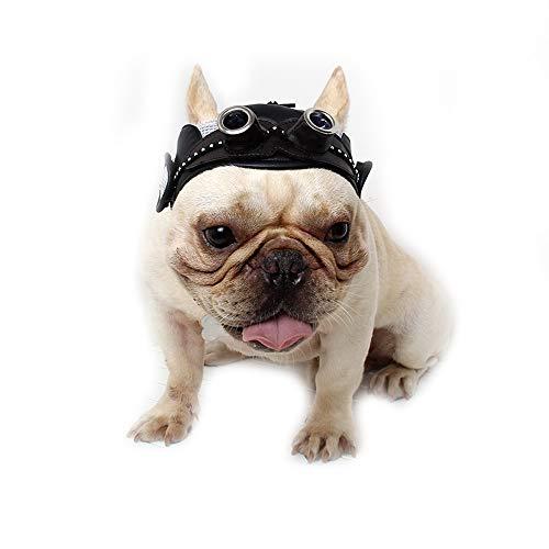 Dog Hat, Pet Retro Mesh Breathable Leather Visor Cap Adjustable Strap for Bulldog and French Bulldog (Black)