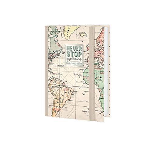 Kalender 2019-2020 16 Monate Tageskalender 10 x 14 cm klein mit Gummizug Legami Never Stop Exploring + gratis Stift + Lesezeichen