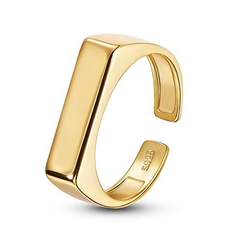 SHEGRACE Anello da Donna, Anello Rettangolare in Argento Sterling 925 Placcato Oro 18 Carati, 17 Mm, Regolabile