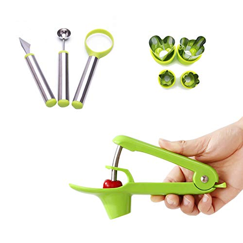 kathson Cherry Pitter amp Melon Baller Scoop Corer Tool Kitchen Stainless Steel Core Vegetable Jam Making Kit Olive Cherry Red Dates