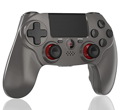 BMSARE Mando para PS4, Bluetooth Inalámbrico Game PS4 Mandos Gamepad Joystick para PS4 Pro/Slim con 6 Axis Gyro Sensor y Dual Shock Vibración, Audio Micrófono y Touch Panel (Plata)