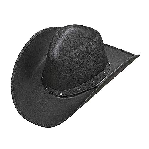 Widmann 01101 Cowboyhut mit Nieten für Erwachsene, schwarz