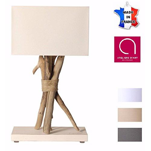 Lampe de chevet/de table en bois flotté CENDRE BRUNE - Fabriqué à la main par un artisan Français - 100% matériaux naturels - 25x45 cm