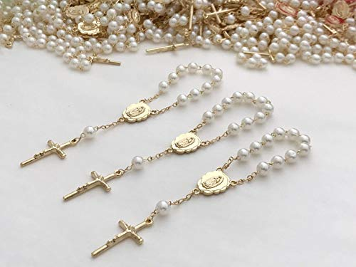 25 Gold Plated Mini Rosary for Baptism Favors in ivory color Faux pearls, recuerdos de bautizo color Beige, christening Favors off white color Gold plated, communion favors, wedding mini rosaries