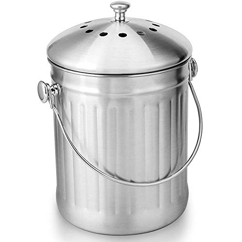 Best Review Of JDD Stainless Steel Compost Bin for Kitchen Countertop - 5L Compost Bucket Kitchen Pa...
