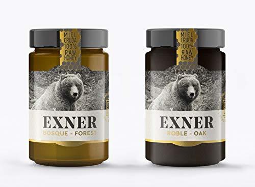 EXNER Miel Cruda 100{73b4f84f3ce0a3afe1f93d21af23ed4c5eca88616cc887f440f677f77479dc2c} Raw Honey Artesana - 2 variedades ROBLE (450 gr) y BOSQUE (450 gr) - Naturaleza y Montaña, Pura, Sin filtrar, Sin pasteurizar, Sin gluten