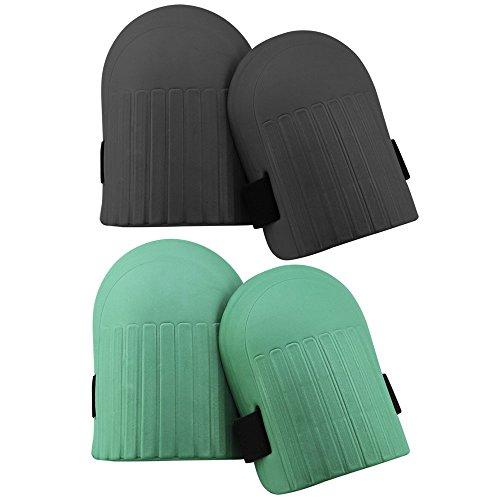 com-four® 2 Paar Knieschoner für Gartenarbeiten - Knieschützer in schwarz und grün - Kniepolster (02 Paar - Knieschoner schwarz + grün)