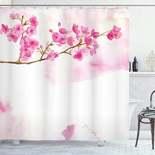 ABAKUHAUS Kirschblüte Duschvorhang, Friedliche Gärten, mit 12 Ringe Set Wasserdicht Stielvoll Modern Farbfest und Schimmel Resistent, 175x220 cm, Blasser Kaffee Hellrosa und Pink