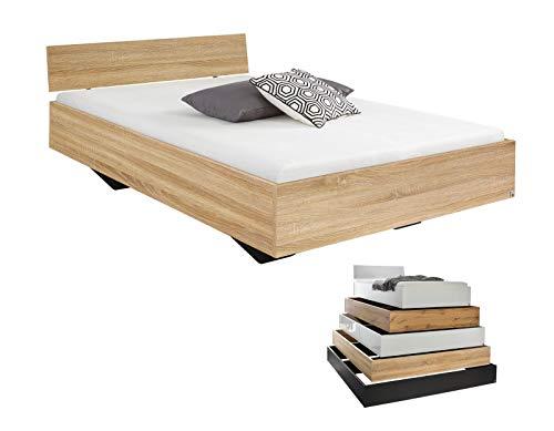 lifestyle4living Futonbett 120x200, Eiche Sonoma Dekor mit Kopfteil | Flaches Einzelbett für bodennahen Schlaf-Komfort