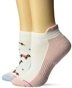 Dr Motion Women s 2PK Compression Low Cut Socks blue/salmon/White dachshund dogs pattern ONE SIZE