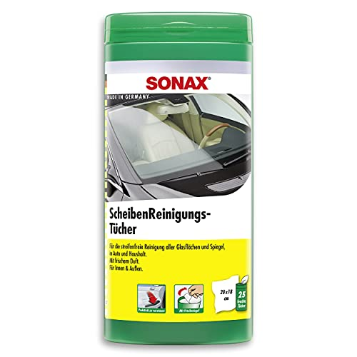 SONAX ScheibenReinigungsTücher Box (25) Stück) zur schnellen, einfachen und streifenfreien Reinigung von allen Glas- und Spiegelflächen | Art-Nr. 04120000