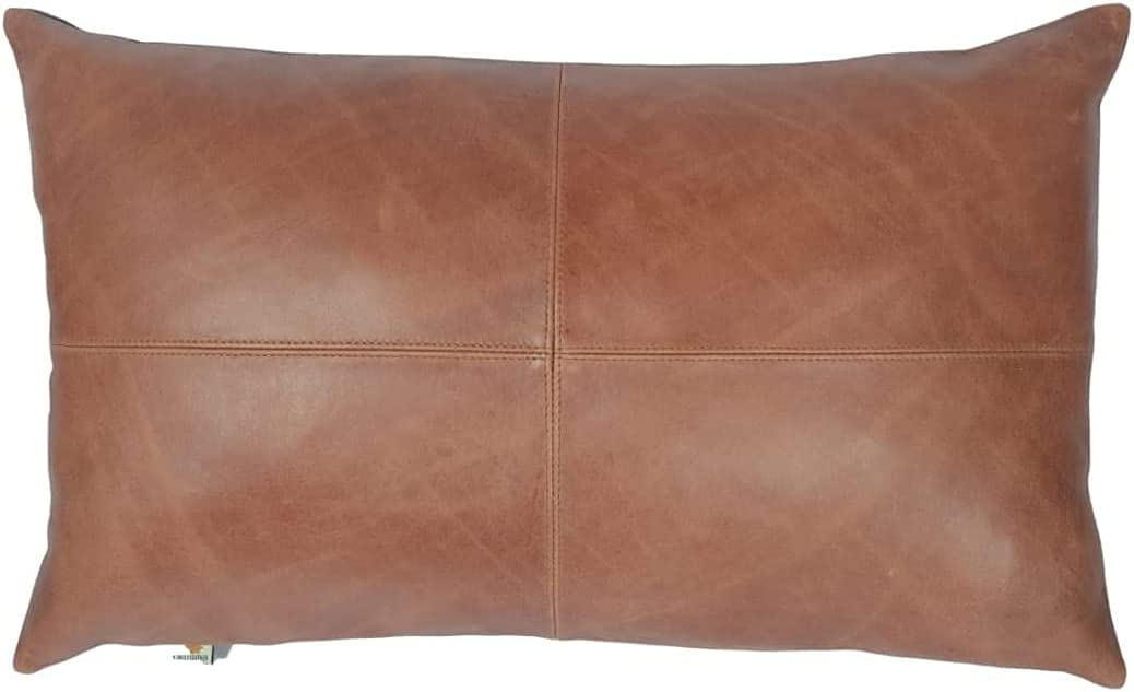 Azrah 人気急上昇 Traders100% Lambskin Leather Pillow メーカー公式ショップ Sofa - Cushion Cover C